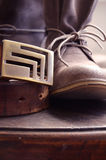 Boots and a Belt. Genuine Leather Boots and a Belt stock images