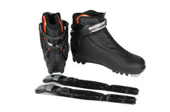 Boots with bindings for cross-country skiing Royalty Free Stock Photography