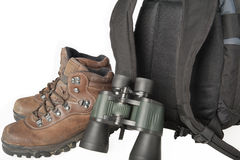 Boots, binoculars, backpack Royalty Free Stock Photography