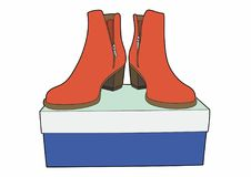 Boots on a blue box. Vector illustration of fashionable shoes, EPS 8 file Stock Illustration