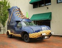 Boots Car. FREEPORT, MAINE, august 31 2014:  L.L.Bean bootmobile.  Promotional truck use by L.L.Bean, leading merchant of quality outdoor gear and has been open Stock Images