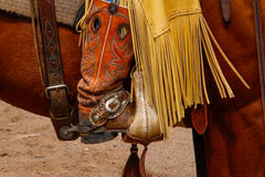 Boots and Chaps. Cowboy boots and riding chaps royalty free stock images