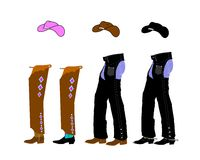 Boots chaps and spurs Stock Image