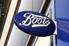Boots chemist logo advertising sign Royalty Free Stock Photo