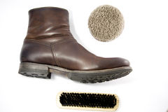 Boots with clean accessories Royalty Free Stock Photography