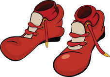 Boots for the clown with red socks. Cartoon Royalty Free Stock Photos