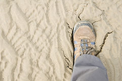 Boots cracking sand Stock Images