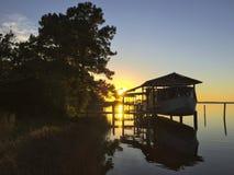 Boots-Dock-Sonnenuntergang - Ostbucht Stockfotos