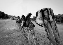 Boots on fence. Some boots on a fence on a back road in texas Royalty Free Stock Photos