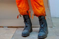Boots of firefighter uniform for fire protection. royalty free stock image