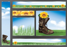 Boots with flower banners Stock Photos