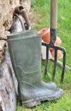 Boots of a gardener Royalty Free Stock Photos