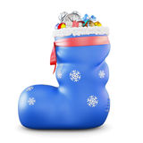 Boots with gifts on a white. 3d Royalty Free Stock Image