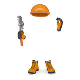 Boots, gloves, helmet and wrench Stock Photos