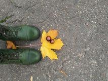 Boots. Green boots on grey asphalt Royalty Free Stock Photos