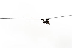 Boots Hanging on Electricty Cable Royalty Free Stock Photos