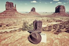 Boots, hat and Monument Valley Royalty Free Stock Images