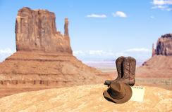 Boots and hat in Monument Valley Stock Photos