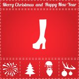 Boots Icon Vector. And bonus symbol for New Year - Santa Claus, Christmas Tree, Firework, Balls on deer antlers Royalty Free Stock Photo