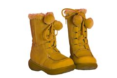 Boots for kids. High Boots for kids made of chamois, isolated Royalty Free Stock Photography