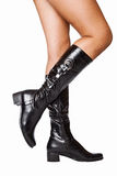Boots. Leather boots with beautiful legs Stock Photography