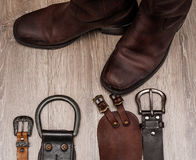 Boots and leather belt. Pair of  boots and leather belt Royalty Free Stock Image