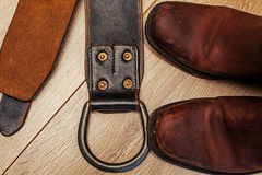 Boots and leather belt. Pair of  boots and leather belt Stock Image