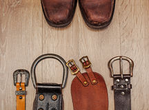 Boots and leather belt. Pair of  boots and leather belt Royalty Free Stock Photography
