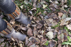Boots and leaves at autumn Royalty Free Stock Photo