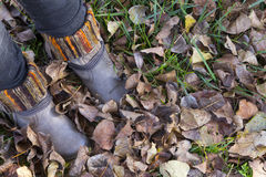Boots and leaves at autumn Royalty Free Stock Photos