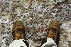 Boots on the melt snow royalty free stock image