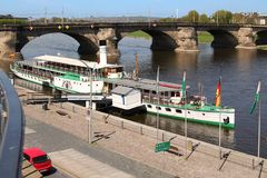 Boots-Pier in Dresden Lizenzfreie Stockfotos