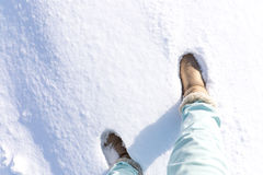 Boots on powder snow. Boots tread on powder snow in Japan Royalty Free Stock Images
