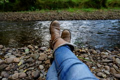 Boots. On a river in killarney Royalty Free Stock Photography