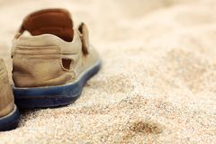 Boots  on the sand Royalty Free Stock Images