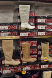 Boots in a shoe store stock photography