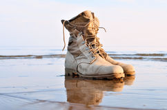 Boots with a shoelaces Stock Photography