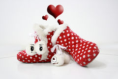 Boots shoes in love for valentine. Shoes in love for valentine\\\'s day Stock Images