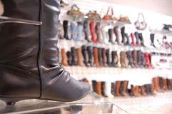 Boots in a Shop Stock Image
