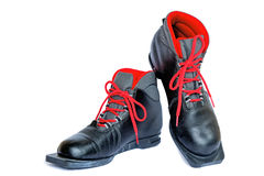 Boots for skiing on a white background. Royalty Free Stock Photos