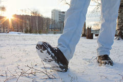 Boots in Snow Stock Images