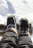 Boots in the snow. Stock Photo