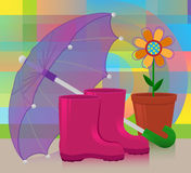 Boots and umbrella Royalty Free Stock Photography