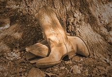 Boots under Tree. Old pair of western boots leaning against oak tree Stock Images