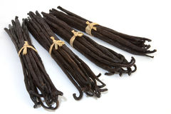 Boots vanilla. Four boots of Bourbon vanilla beans isolated on white background Stock Photography