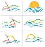 Boots-Wasser-Sonnenuntergang-Zeichen-Set lizenzfreie abbildung