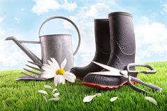 Boots with watering can and daisy on grass Stock Images