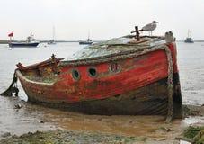 Boots-Wrack auf der Nordseeküste, Großbritannien Lizenzfreies Stockfoto