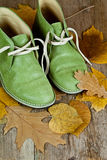 Boots and yellow leaves Royalty Free Stock Image
