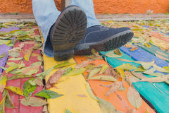 Boots and yellow leaves on a wooden floor. Boots and yellow leaves on a multicolored wooden floor Stock Photos